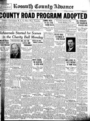Kossuth County Advance from Algona, Iowa on February 17, 1938 · Page 1