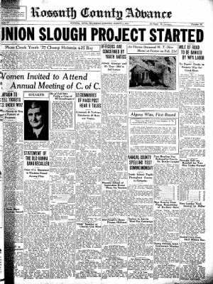Kossuth County Advance from Algona, Iowa on March 3, 1938 · Page 1