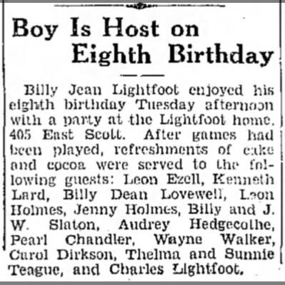 - Boy Is Host on Eighth Birthday Billy Jean...