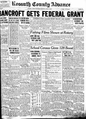 Kossuth County Advance from Algona, Iowa on June 30, 1938 · Page 1