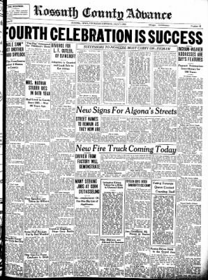 Kossuth County Advance from Algona, Iowa on July 7, 1938 · Page 1