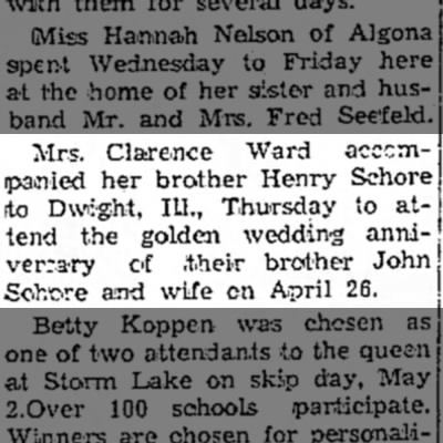- Mrs. Clarence Ward acccm- ipainied her brother...
