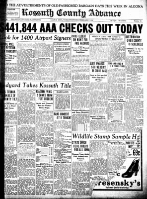 Kossuth County Advance from Algona, Iowa on February 7, 1939 · Page 1