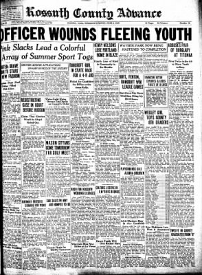 Kossuth County Advance from Algona, Iowa on June 6, 1939 · Page 1
