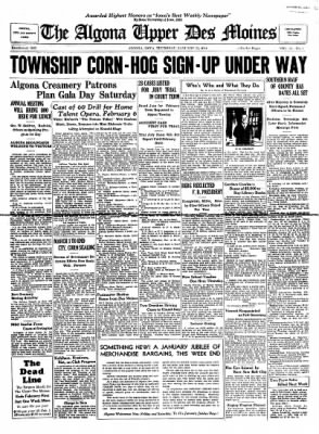 The Algona Upper Des Moines from Algona, Iowa on January 25, 1934 · Page 1