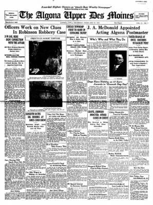 The Algona Upper Des Moines from Algona, Iowa on February 15, 1934 · Page 1