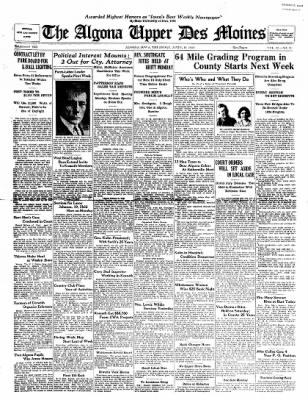 The Algona Upper Des Moines from Algona, Iowa on April 19, 1934 · Page 1
