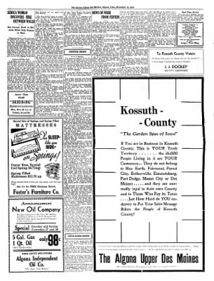 The Algona Upper Des Moines from Algona, Iowa on November 15, 1934 · Page 11