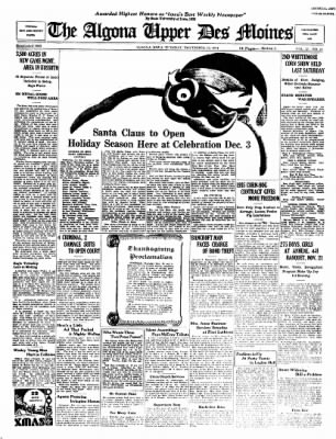 The Algona Upper Des Moines from Algona, Iowa on November 27, 1934 · Page 1