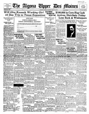 The Algona Upper Des Moines from Algona, Iowa on May 12, 1936 · Page 1