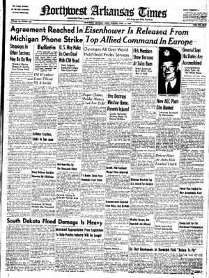 Northwest Arkansas Times from Fayetteville, Arkansas on April 11, 1952 · Page 1