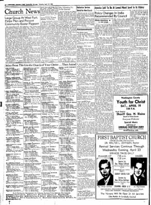 Northwest Arkansas Times from Fayetteville, Arkansas on April 19, 1952 · Page 12