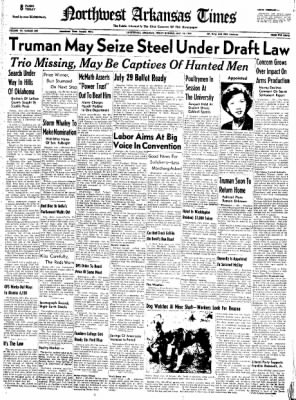 Northwest Arkansas Times from Fayetteville, Arkansas on July 18, 1952 · Page 1