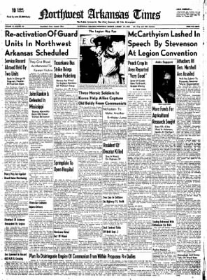 Northwest Arkansas Times from Fayetteville, Arkansas on August 27, 1952 · Page 1