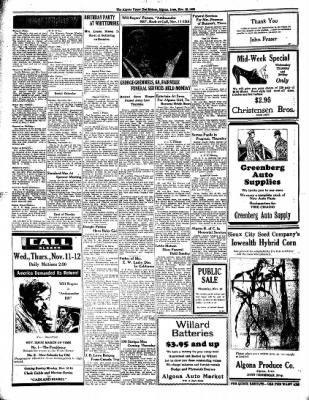 The Algona Upper Des Moines from Algona, Iowa on November 10, 1936 · Page 6