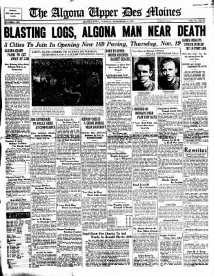 The Algona Upper Des Moines from Algona, Iowa on November 17, 1936 · Page 1