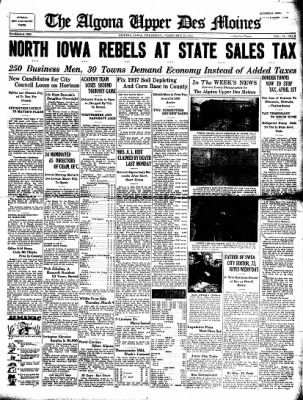 The Algona Upper Des Moines from Algona, Iowa on February 25, 1937 · Page 1