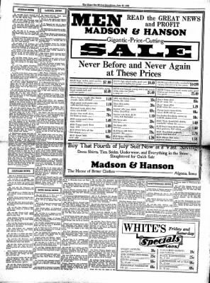 The Algona Upper Des Moines from Algona, Iowa on June 18, 1930 · Page 3