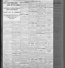 San Francisco earthquake 1906 report in Kansas paper details the destruction and chaos in the city