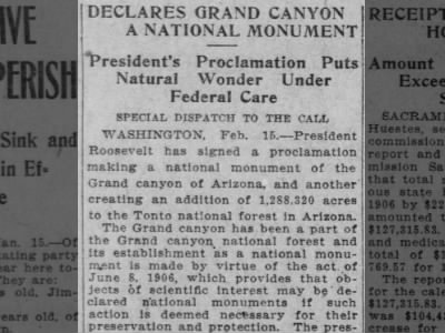 Grand Canyon declared a national monument