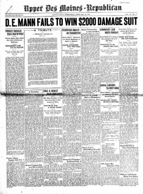 The Algona Upper Des Moines from Algona, Iowa on February 11, 1931 · Page 1