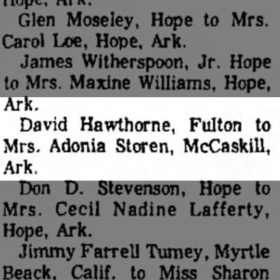 14 Sep 1971 David Hawthorne marr. -