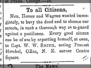Town of Gettysburg requests men, horses, and wagons to bury the dead after Battle of Gettysburg