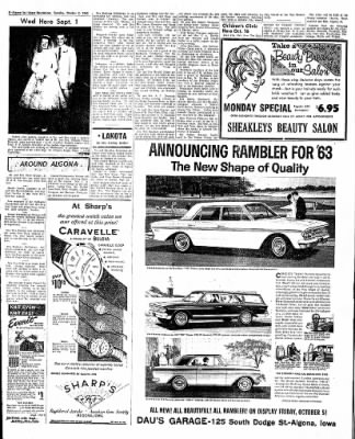 The Algona Upper Des Moines from Algona, Iowa on October 2, 1962 · Page 16