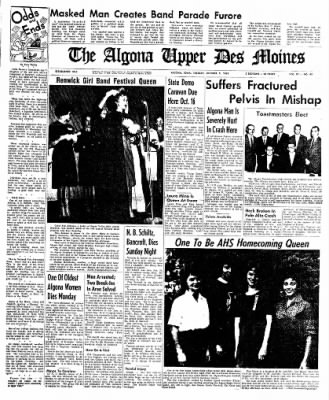 The Algona Upper Des Moines from Algona, Iowa on October 9, 1962 · Page 1