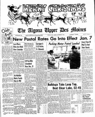 The Algona Upper Des Moines from Algona, Iowa on December 25, 1962 · Page 1