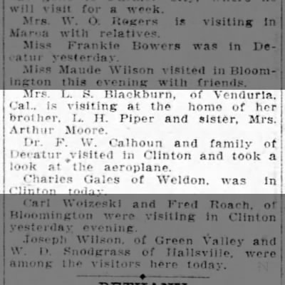 Arthurs widow in Clinton News 1910