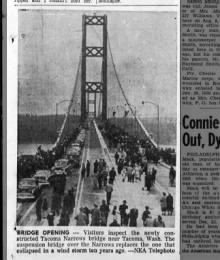 Opening of new Tacoma Narrows bridge in 1950