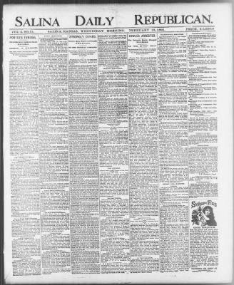 Salina Daily Republican From Kansas On February 18 1891 Page 1