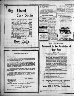 The Evening Herald From Klamath Falls Oregon On October 30 1926 Page 8