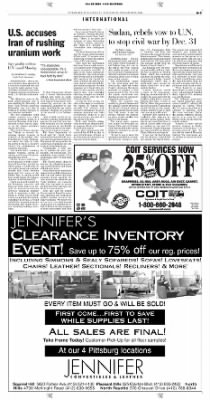 Pittsburgh Post-Gazette from Pittsburgh, Pennsylvania on November 20, 2004 · Page 3