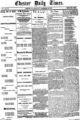 Delaware County Daily Times from Chester, Pennsylvania on December 30, 1876 · Page 1