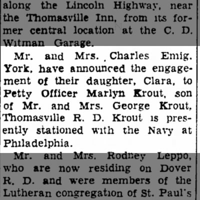Marlyn Krout and Clara Emig engagement-Jan 1957