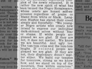 Quote from Langston Hughes about Black cultural renaissance