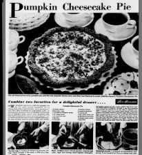 1949 Pumpkin Cheesecake Pie recipe with graham cracker crust
