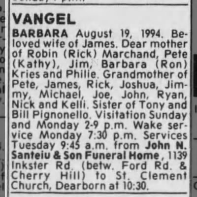 Barbara Vangel Obituary -