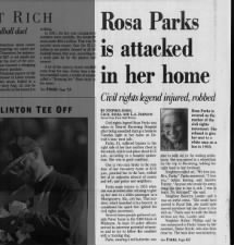 Newspaper headlines of Rosa Parks being attacked in her home in 1994