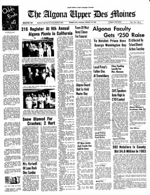 The Algona Upper Des Moines from Algona, Iowa on February 18, 1965 · Page 1