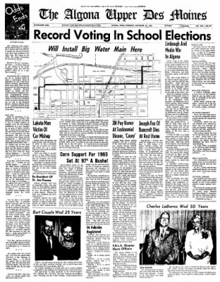 The Algona Upper Des Moines from Algona, Iowa on September 16, 1965 · Page 1
