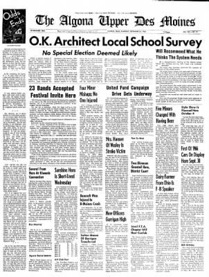 The Algona Upper Des Moines from Algona, Iowa on September 23, 1965 · Page 1